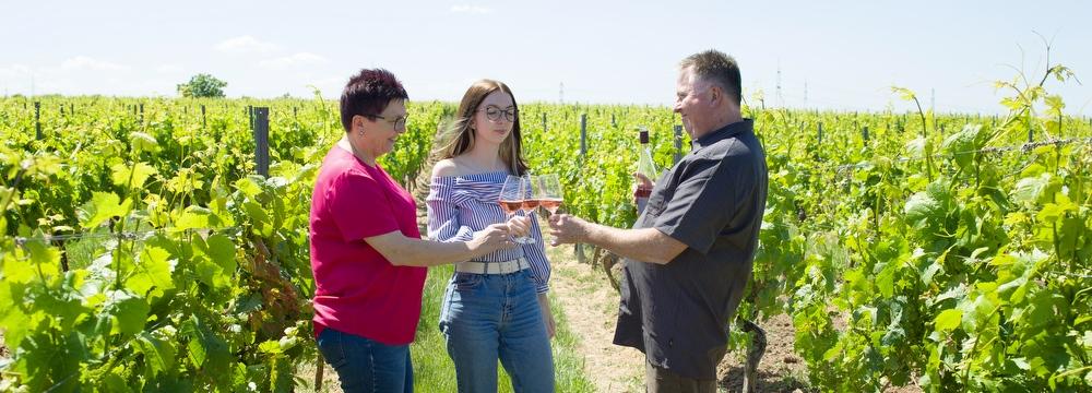 Weingut Borntaler Hof - Die Winzerfamilie im Weinberg